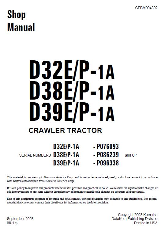Komatsu D32e-1, D38e-1, D39e-1 Dozer Service Manual