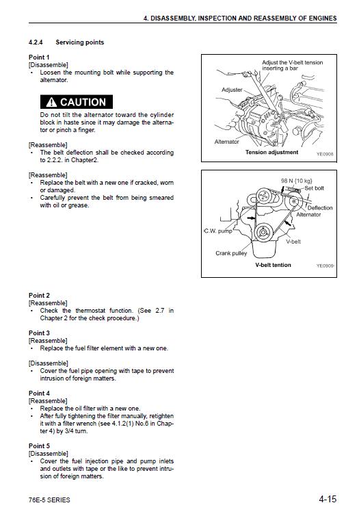 Komatsu 70e-5 Series (2d70e) & 76e-5 Series (3d76e) Engines Manual