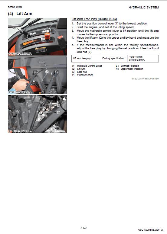 Kubota B3000 Tractor Workshop Service Manual