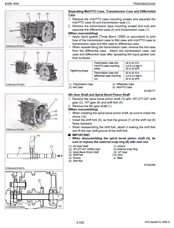 Kubota B3200 Tractor Workshop Service Manual