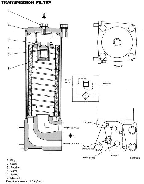 Komatsu D68E-1, D68P-1 Transmission filter