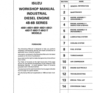 Isuzu 4BB1, 4BD1, 4BD1T Engine Workshop Service Manual