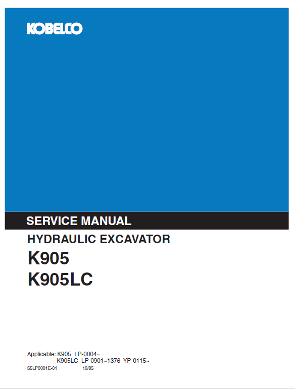 Kobelco K905 and K905LC Excavator Service Manual