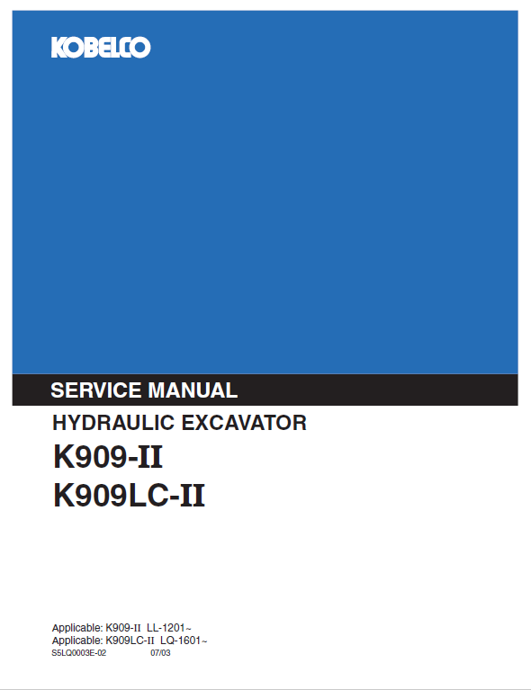 Kobelco K909-ii And K909lc-ii Excavator Service Manual