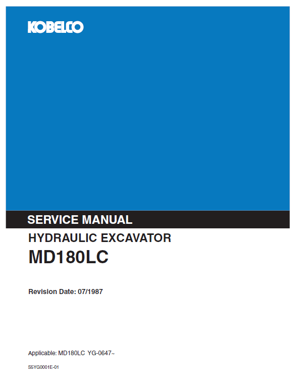 Kobelco Md180lc Excavator Service Manual
