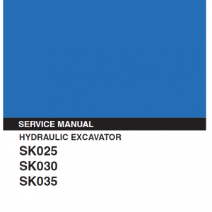 Kobelco SK025, SK030 and SK035 Excavator Service Manual