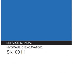 Kobelco SK100-III Excavator Service Manual