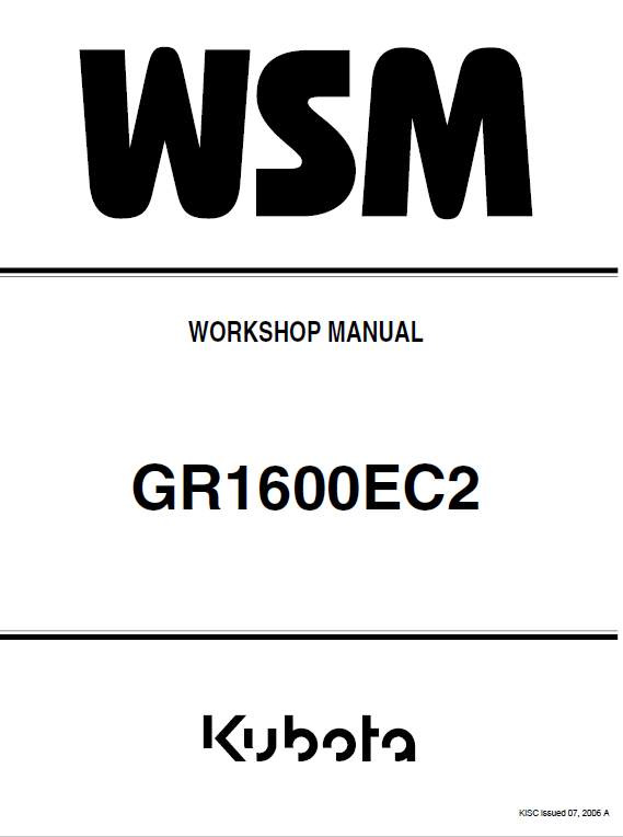 Kubota Gr1600ec2 Lawn Mower Workshop Service Manual