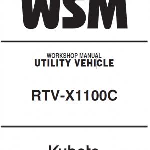 Kubota RTV-X1100C Utility Vehicle Workshop Service Manual