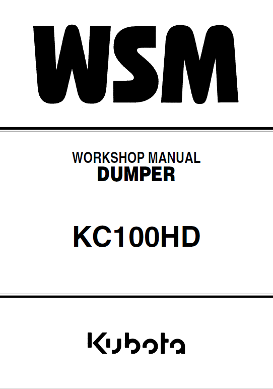 Kubota Kc100hd Dumper Workshop Manual