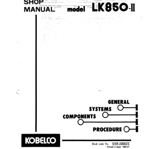 Kobelco Lk850 Ii Wheel Loader Service Manual