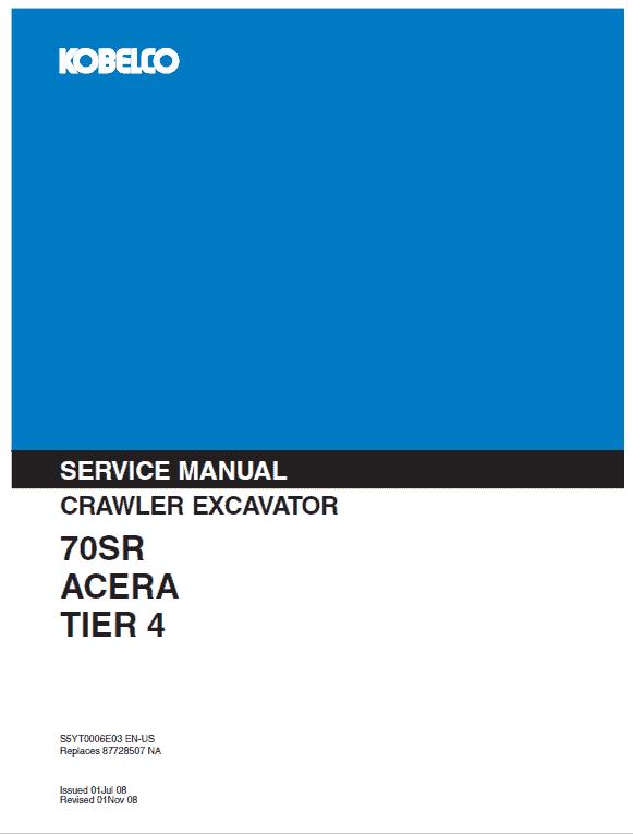 Kobelco 70SR ACERA Tier 4 Excavator Service Manual