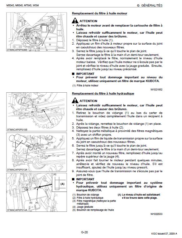 Kubota M5040, M6040, M7040 Tractor Workshop Manual