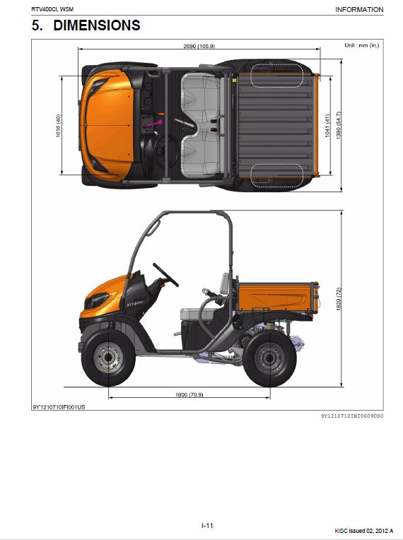 Kubota Rtv400ci Utility Vehicle Workshop Manual