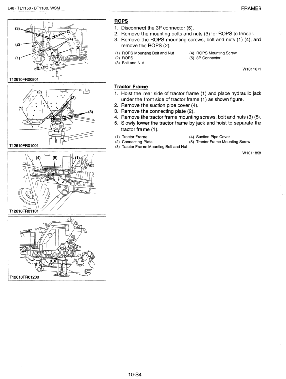 Kubota L48, Tl1150, Bt1100 Tractor Front Loader Workshop Manual