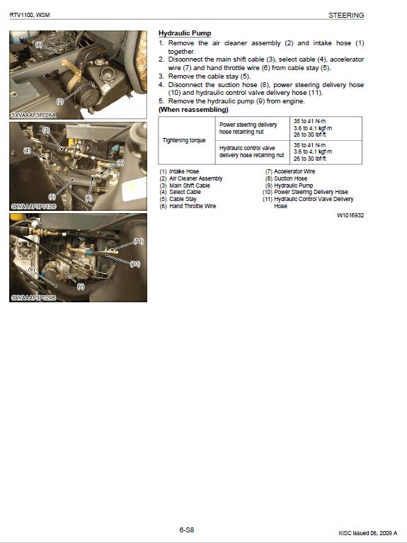 Kubota Rtv1100 Utility Vehicle Workshop Service Manual