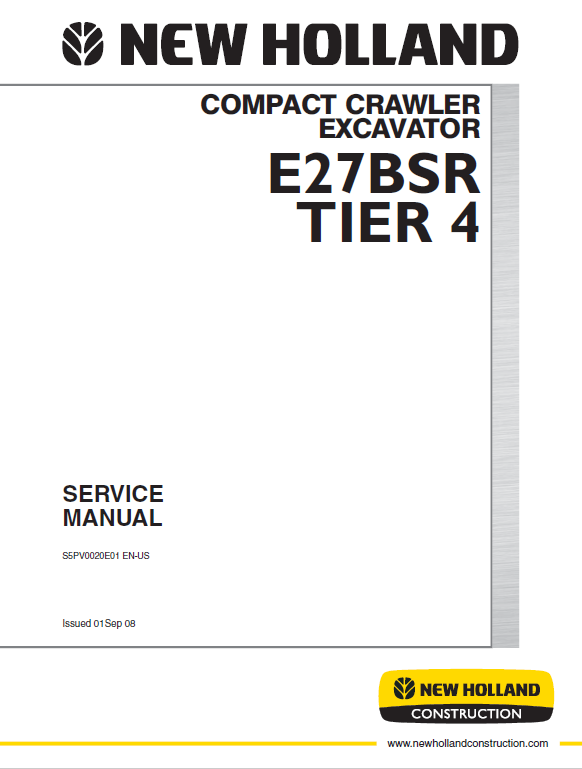 New Holland E27BSR Tier 4 Compact Excavator Service Manual