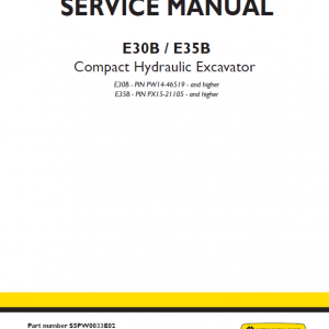 New Holland E30b And E35b Compact Excavator Service Manual