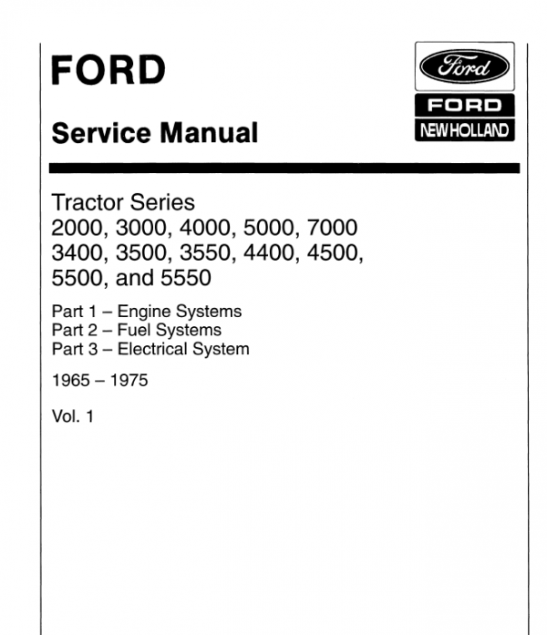 Ford Tractor Series 5000, 5500, 5550, 7000 Service Manual