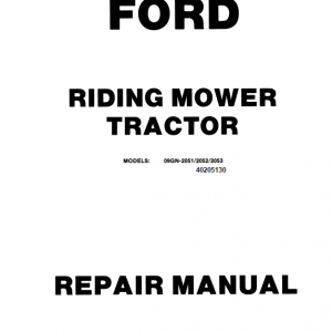 Ford R8, R11 Riding Mower Tractor Service Manual