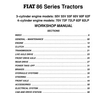 Fiat 50v, 55v, 55f, 60v, 60f, 62f Tractor Service Manual