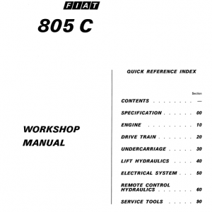Fiat 805c Crawler Tractor Workshop Service Manual