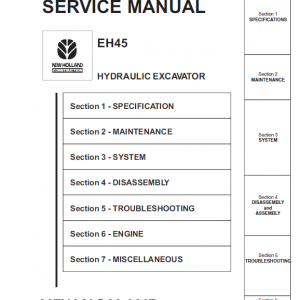 New Holland Eh45 Compact Excavator Service Manual