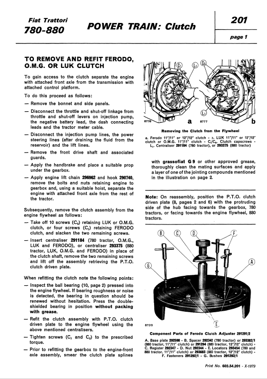 Fiat 780, 780dt, 880, 880dt Tractor Service Manual