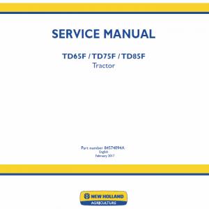 New Holland TD65F, TD75F, TD85F Tractor Workshop Service Manual