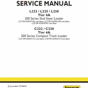 New Holland L230, C238 Tier 4a Skidsteer Loader Service Manual