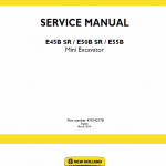 New Holland E45b Sr, E50b Sr, E55b Mini Excavator Service Manual