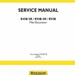 New Holland E45BSR, E50BSR, E55B Mini Excavator Service Manual