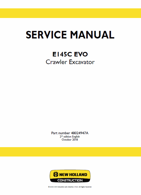 New Holland E145c Evo Excavator Service Manual