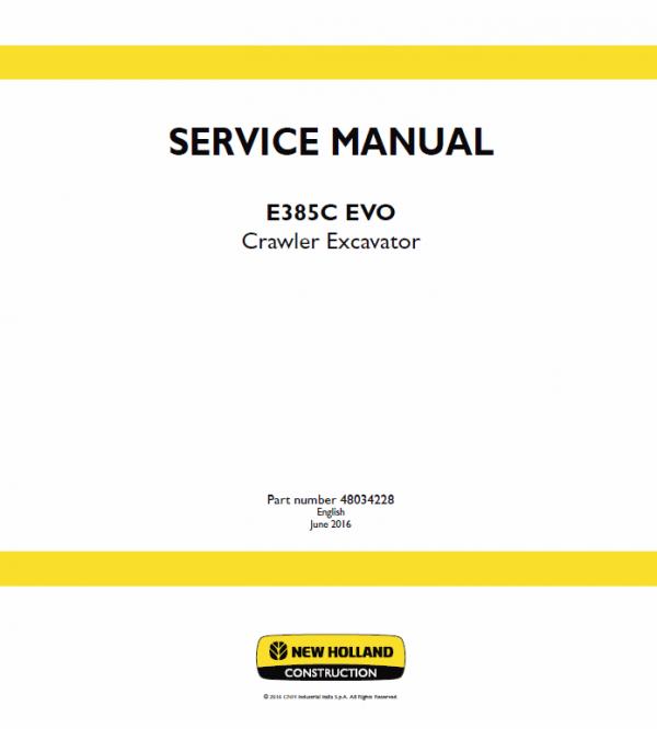 New Holland E385c Evo Excavator Service Manual