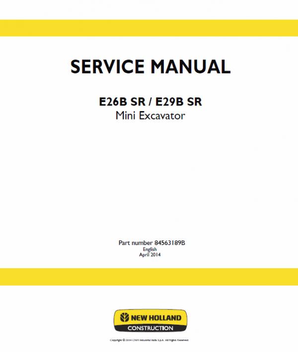 New Holland E26b Sr, E29b Sr Mini Excavator Service Manual