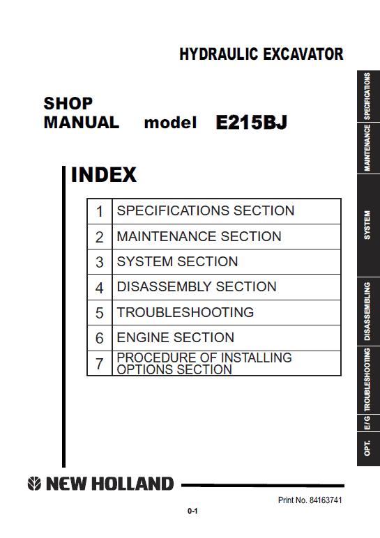 New Holland E215bj Excavator Service Manual