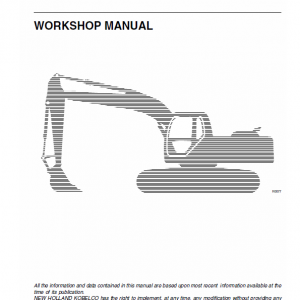 New Holland E385 Tier 3 Excavator Service Manual