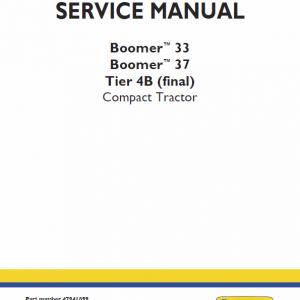 New Holland Boomer 33 and Boomer 37 Tractor Repair Manual
