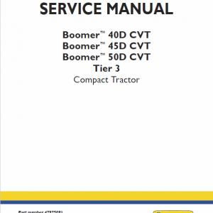 New Holland Boomer 40d Cvt, 45d Cvt, 50d Cvt Tractors Service Manual