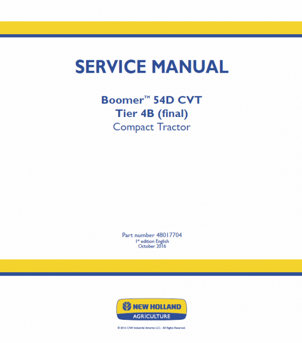 New Holland Boomer 54d Cvt Tractor Service Manual