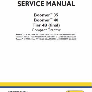 New Holland Boomer 35 and Boomer 40 Tractor repair Manual