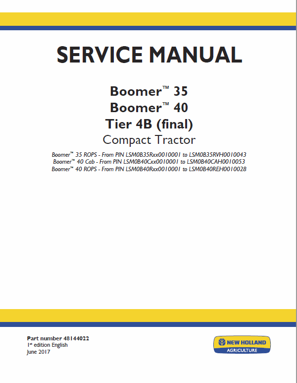 New Holland Boomer 35 And Boomer 40 Tractor Service Manual
