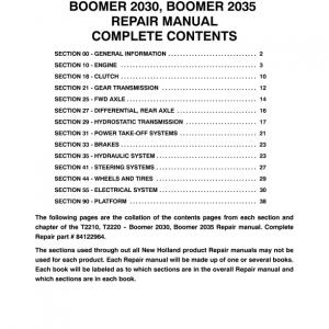 New Holland Boomer 2030 and Boomer 2035 Tractor repair Manual