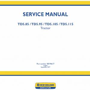 New Holland Td5.85, Td5.95, Td5.105, Td5.115 Tractor Service Manual