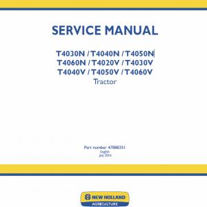 New Holland T4020v, T4030v, T4040v, T4050v, T4060v Tractor Service Manual