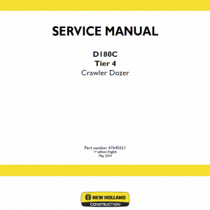 New Holland D180c Tier 4 Crawler Dozer Service Manual