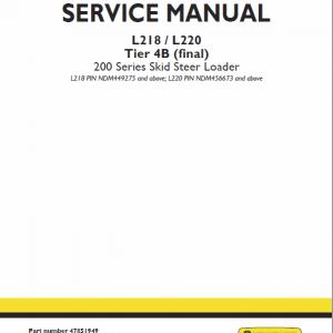 New Holland L218, L220 Tier 4b Skidsteer Service Manual