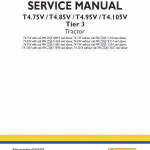 New Holland T4.75v, T4.85v, T4.95v, T4.105v Tier 3 Tractor Manual