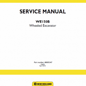 New Holland We150b Wheeled Excavator Service Manual