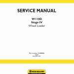 New Holland W110d Tier 4b Wheel Loader Service Manual